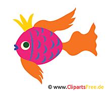 Goldfisch mit Krone Bild, Clip Art, Image, Grafik, Illustration gratis