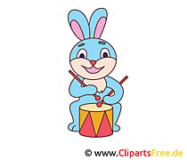 Hase mit Trommel Bild, Clip Art, Image, Grafik, Illustration gratis