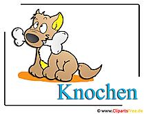 自由のための骨の漫画のイメージを持つ犬