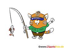 Cat va a pescare foto, clip art, illustrazione