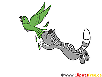 Gatto che insegue l'uccello clip art, foto, illustrazione