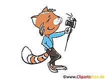 Il gatto fa selfie con l'immagine della fotocamera, clip art, illustrazione