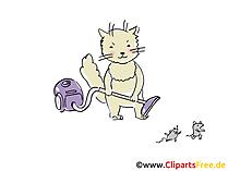 Cartone animato gatto con aspirapolvere