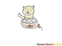 Il gatto beve l'illustrazione dell'immagine di clipart del fumetto del latte