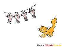 Cartone animato di gatto e pesce, clip art, foto, illustrazione