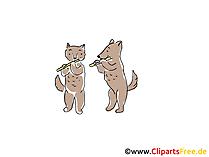 Gatto e cane che suonano l'illustrazione dell'immagine di clipart del fumetto del flauto