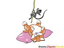 Gatto e topo che giocano clipart, fumetti, immagini, illustrazioni