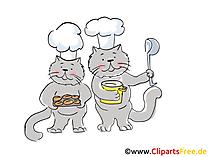 Due gatti con cappelli da chef e cucchiai illustrazione immagine clip art