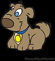 Lachende hond cartoon