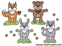 森の動物クリップアート