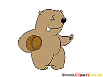 Bär mit Honigfass Bild, Clipart, Illustration