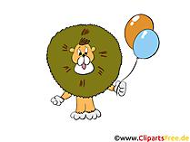 Löwe mit Luftballons Comic Bild, Clipart, Illustration