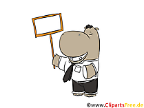 Nilpferd mit Plakat Cartoon, Clipart, Bild, Illustration