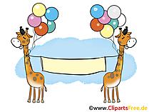 Zwei Giraffen mit Luftballons und Plakat Bild, Clipart, Illustration