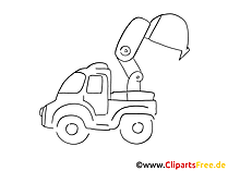 Arbeitskraftfahrzeug Zeichnung, Grafik schwarz-weiss, Clipart, Bild