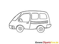 医師の車の絵、白黒のグラフィック、クリップアート、絵