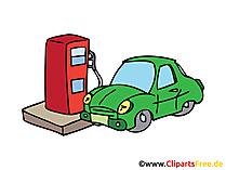 ガソリンスタンドで車、燃料補給画像、クリップアート、イラスト