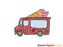 車のアイスクリームクリップアート、イメージ、漫画、コミック、グラフィック