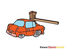 Auto vor dem Schlagbaum Bild, Clipart, Illustration, Grafik, Zeichnung kostenlos