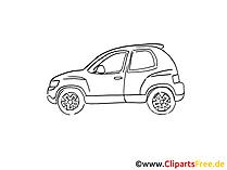 Auto Zeichnung, Grafik schwarz-weiss, Clipart, Bild
