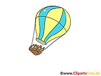 Ballonfahrt im Heissluftballon Clipart, Bild, Cartoon, Comic
