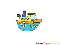 Dampfboot  Clipart, Bild, Cartoon, Comic, Grafik