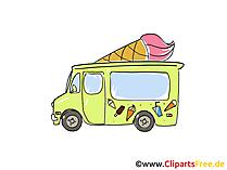 Eis Verkauf Wagen Clipart, Bild, Cartoon, Comic, Grafik