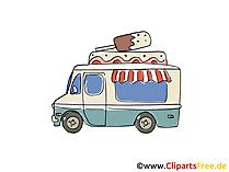 Eiswagen, Verkaufswagen Clipart, Bild, Cartoon, Comic, Grafik