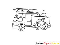 Feuerwehrwagen Zeichnung, Grafik schwarz-weiss, Clipart, Bild