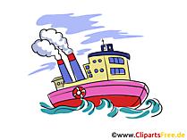 魚の汽船、トロール船のクリップアート、画像、グラフィック無料
