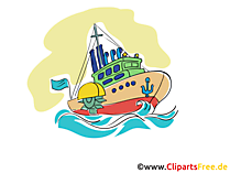 Fischerboot Clipart, Bild, Cartoon, Grafik