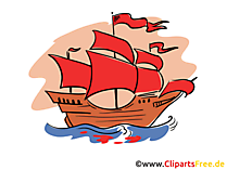 Fregatte mit purpurroten Segeln Illustration, Bild, Clipart, Grafik