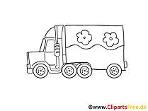 Gueterkraftwagen Zeichnung, Grafik schwarz-weiss, Clipart, Bild