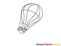 Heissluftballon Zeichnung, Grafik schwarz-weiss, Clipart, Bild