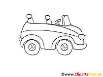 Kabriolet Zeichnung, Grafik schwarz-weiss, Clipart, Bild