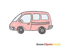 Kleinbus, Minibus Clipart, Bild, Cartoon, Comic, Grafik