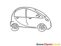 Kleinwagen Zeichnung, Grafik schwarz-weiss, Clipart, Bild