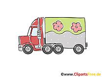 Lastkraftwagen Clipart, Bild, Cartoon, Comic, Grafik