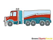 Lkw-Tankwagen Clipart, Bild, Cartoon, Comic, Grafik