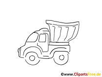 LKW gebraucht Zeichnung, Grafik schwarz-weiss, Clipart, Bild