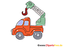 LKW mit Baukran Clipart, Bild, Cartoon, Comic, Grafik