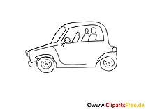 Mietwagen Zeichnung, Grafik schwarz-weiss, Clipart, Bild