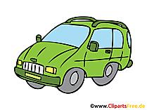 ミニバス、家族の車のイラスト、イメージ、クリップアート、フリードローイング