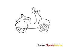 Mofa Zeichnung, Grafik schwarz-weiss, Clipart, Bild