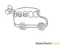 Omnibus Zeichnung, Grafik schwarz-weiss, Clipart, Bild