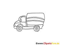 Postwagen Zeichnung, Grafik schwarz-weiss, Clipart, Bild