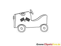 Rennwagen Oldtimer Zeichnung, Grafik schwarz-weiss, Clipart, Bild