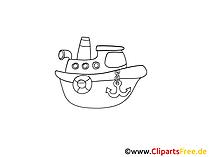 Schiff Zeichnung, Grafik schwarz-weiss, Clipart, Bild