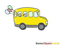 Schulbus gelb Clipart, Bild, Cartoon, Comic, Grafik