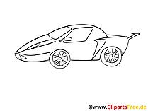 Sportwagen Zeichnung, Grafik schwarz-weiss, Clipart, Bild